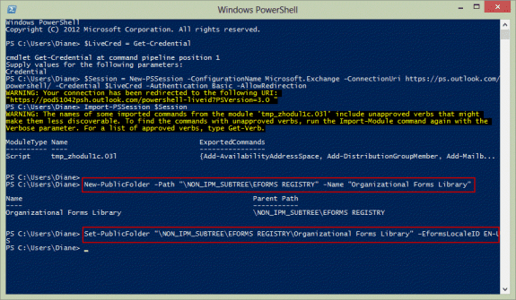 Use PowerShell to create the Organizational Forms library