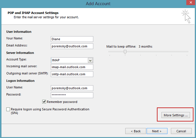 Setting Up An Outlook Com Imap Account