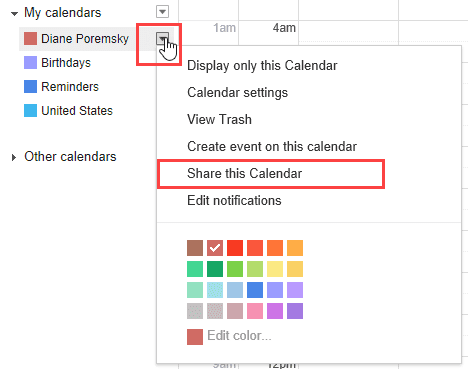 click to expand the menu and select share calendar