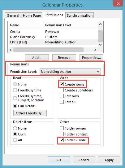 Create items permission on the folder