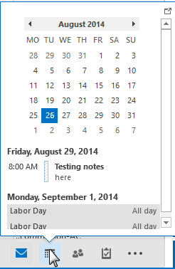 hover over the calendar to peek
