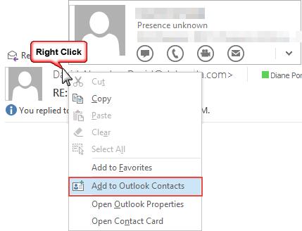 right click options