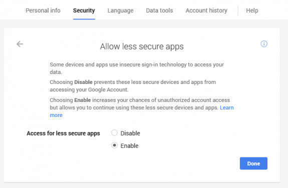 Change gmail security settings