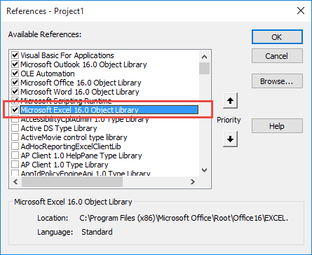 Set a reference to Excel