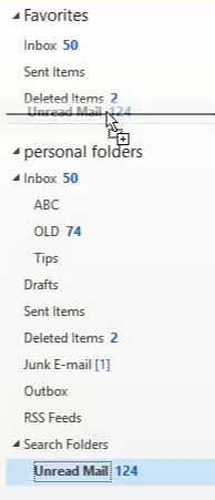 Drag the search folder to favorties