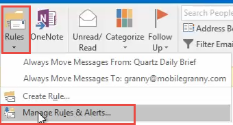 open manage rules and alerts