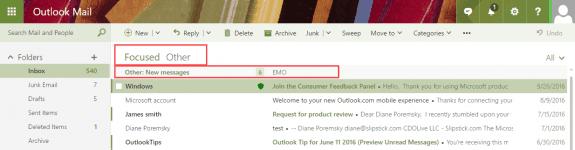 focused inbox in outlook on the web
