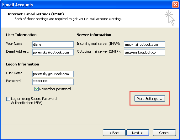 Add an account in Outlook 2003