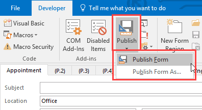publish the form