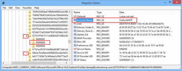 edit the account name in the registry