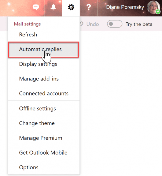 outlook on the web automatic reply option