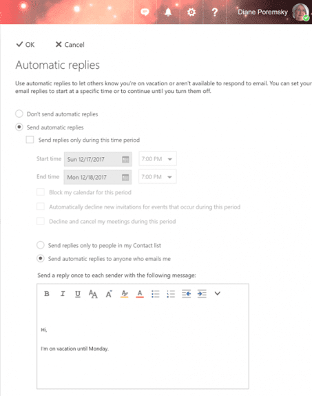 set up the automatic reply in owa