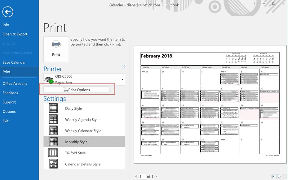 Calendars aren't printing in color