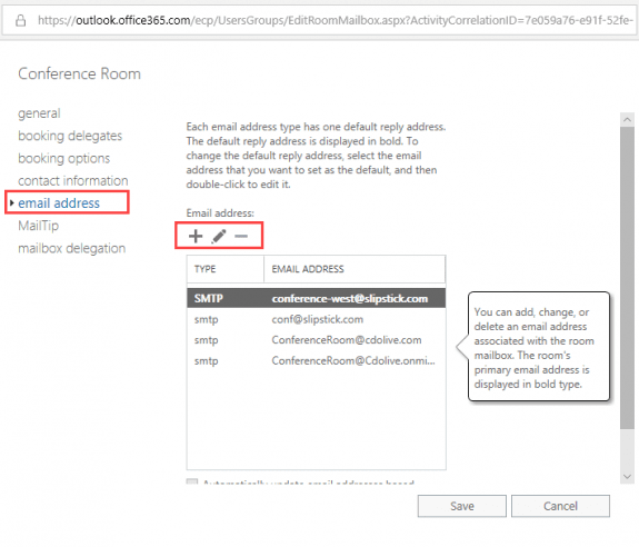 add or remove addresses from exchange mailboxes