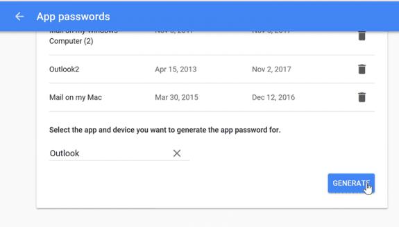 create or revoke app passwords