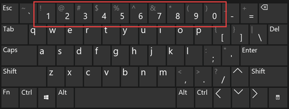 use the number row on the keyboard