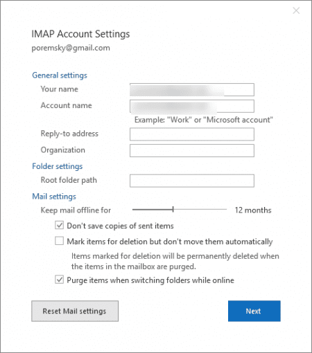 Outlook's simplified account settings
