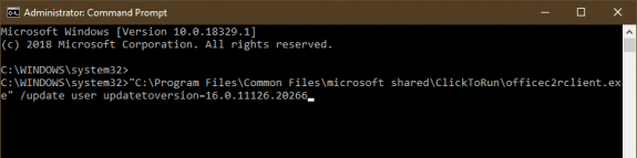 Command to rollback office 354