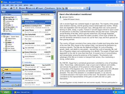 Outlook 2003 interface
