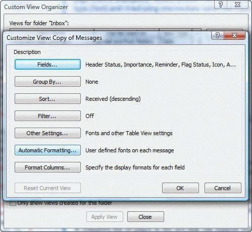 Customize view dialog