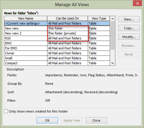 Manage views shows who can use the view