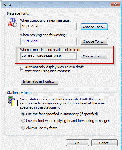 Set the plain text font in Outlook 2003