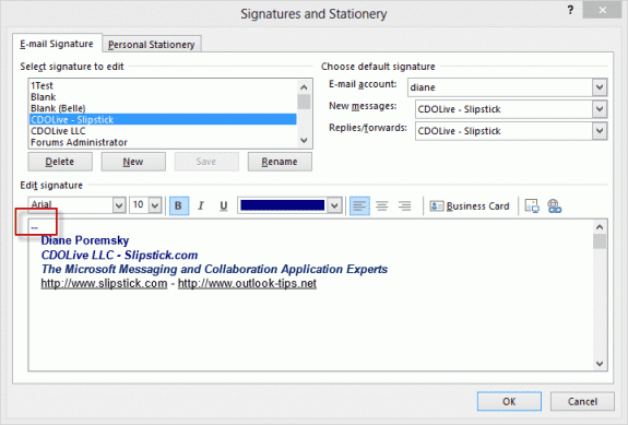 Add two dashes as the first line of your signature
