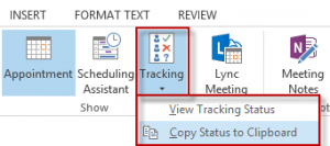 Use the Copy in Clipboard command to get tracking details in Outlook 2010 and up